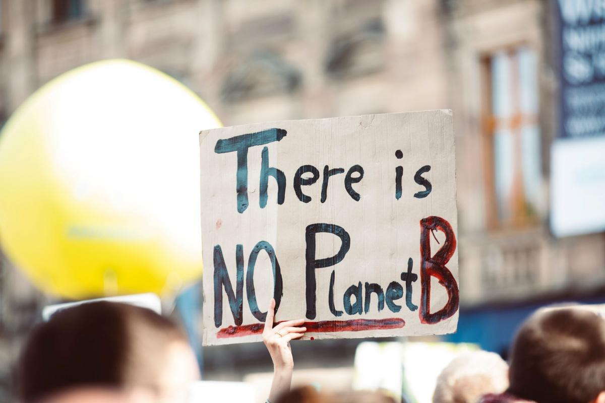 Protest sign 'No Planet B'